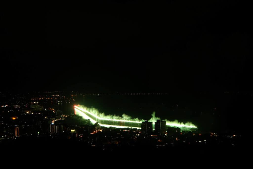 諏訪湖祭湖上花火 立石公園 大ナイアガラ瀑布